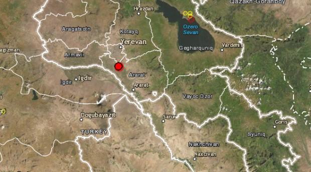 emsc-csemЗемен трус с магнитуд 4,9 бе регистриран днес в Армения,