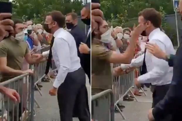 Мъж зашлеви френския президент Еманюел Макрон по време на среща