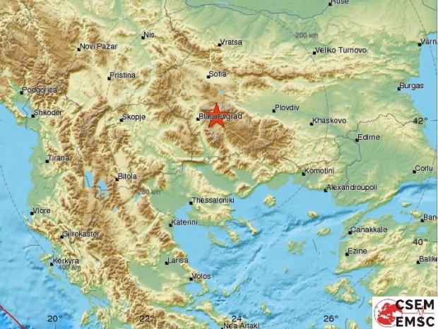 Земетресение от 3 по скалата на Рихтер е регистрирано на