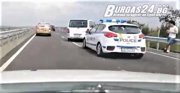 Burgas24.bg, който ни изпрати кратко видео. Инцидентът е станал преди