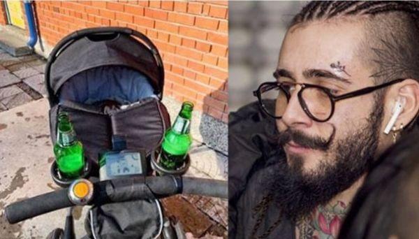 Снимка: Рапърът Венци Венц гледа бебето си зареден с бира