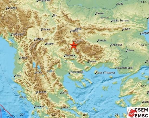 Земетресение е регистрирано в 9,19 ч. тази сутрин край Благоевград.