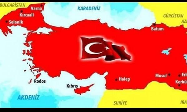 Карта на Турция, обхващаща територии и от България, се появи