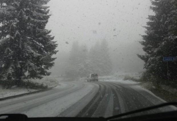 Зимата дойде, сняг натрупа на прохода Петрохан. Машини почистват и