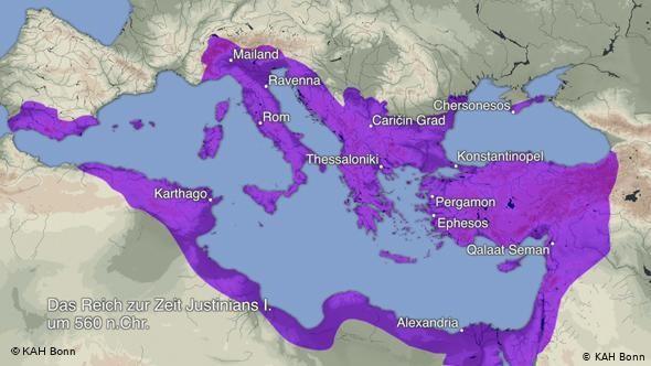 > Империята на Юстиниан I през 560 година от н.е.Много