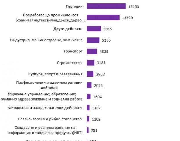 > Брой новорегистрирани безработни по икономически дейности в периода 13