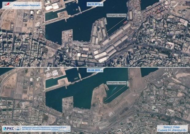 Снимка от космоса показва щетите от взрива в Бейрут. Това